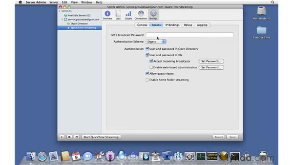 Configuring QuickTime Streaming Server: Mac OS X Server 10.6 Snow Leopard Essential Training