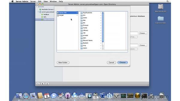 Creating an open directory archive: Mac OS X Server 10.6 Snow Leopard Essential Training