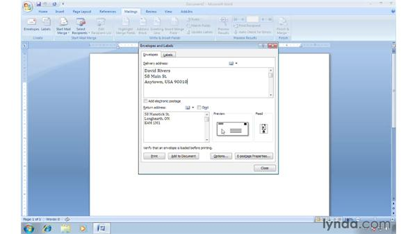 Printing a single envelope: Word 2007: Creating Envelopes and Labels