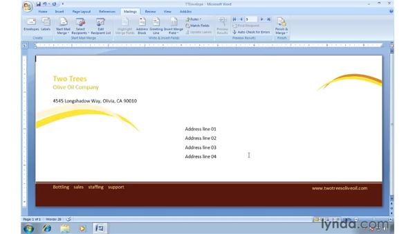 Editing a recipient list in Word: Word 2007: Creating Envelopes and Labels