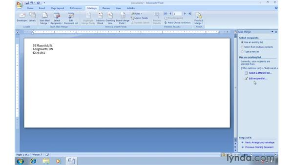 Envelopes and the Mail Merge wizard: Word 2007: Creating Envelopes and Labels