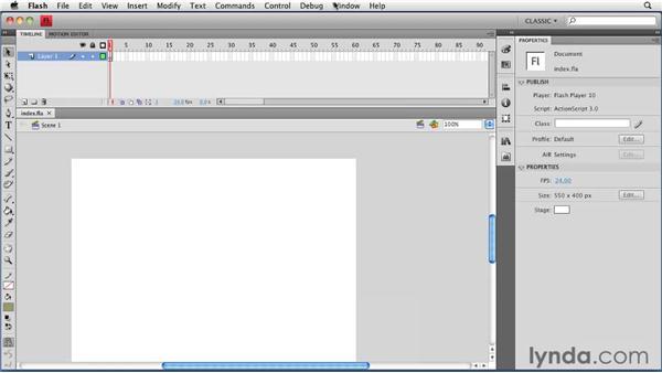Creating a Flash file: Creating a Portfolio Web Site Using Flash CS4 Professional