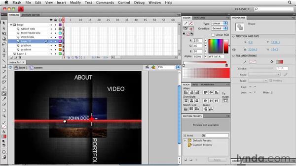 Optimizing the design: Creating a Portfolio Web Site Using Flash CS4 Professional