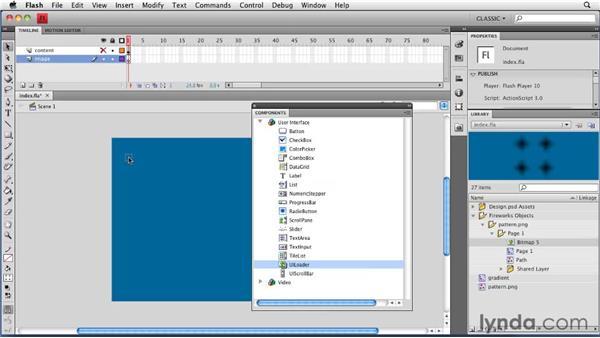 Dynamically loading an image: Creating a Portfolio Web Site Using Flash CS4 Professional