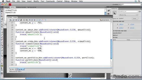 Adding navigation: Creating a Portfolio Web Site Using Flash CS4 Professional