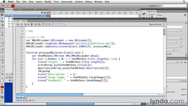 Displaying XML content: Creating a Portfolio Web Site Using Flash CS4 Professional