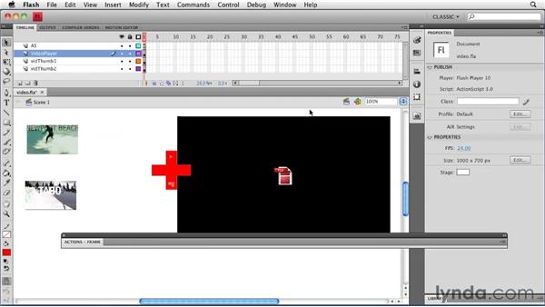 Adding functionality to video thumbnails: Creating a Portfolio Web Site Using Flash CS4 Professional