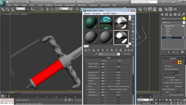 Applying and mapping the handle material: Textures and Materials in 3ds Max