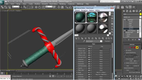Applying and mapping the hand guard and trim materials: Textures and Materials in 3ds Max