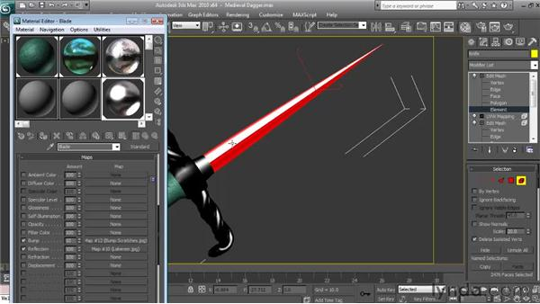 Applying and mapping the blade material: Textures and Materials in 3ds Max