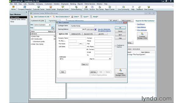Creating a customer profile: QuickBooks Pro 2010 Essential Training