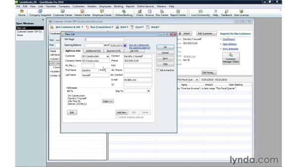Creating a job: QuickBooks Pro 2010 Essential Training