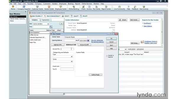 Creating a vendor: QuickBooks Pro 2010 Essential Training