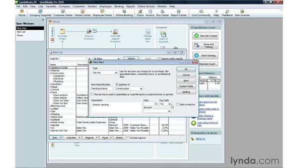 Creating a service item: QuickBooks Pro 2010 Essential Training