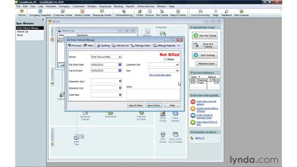 Tracking mileage: QuickBooks Pro 2010 Essential Training