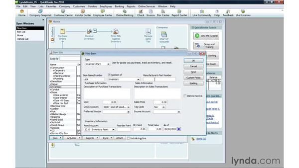 Creating an inventory item: QuickBooks Pro 2010 Essential Training
