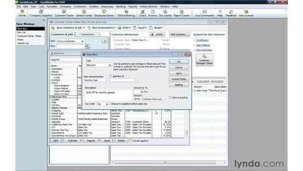 Setting up discounts and charges: QuickBooks Pro 2010 Essential Training