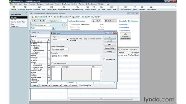 Creating a group of items: QuickBooks Pro 2010 Essential Training