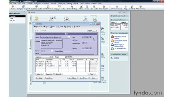 Recording inventory you receive: QuickBooks Pro 2010 Essential Training