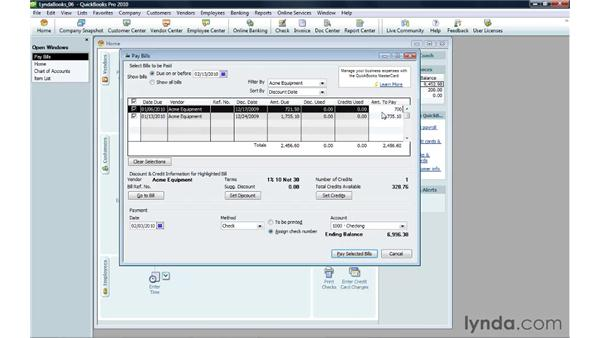 Paying bills: QuickBooks Pro 2010 Essential Training