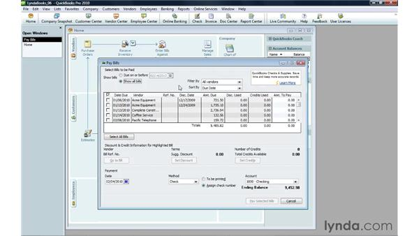 Handling a credit from a vendor: QuickBooks Pro 2010 Essential Training