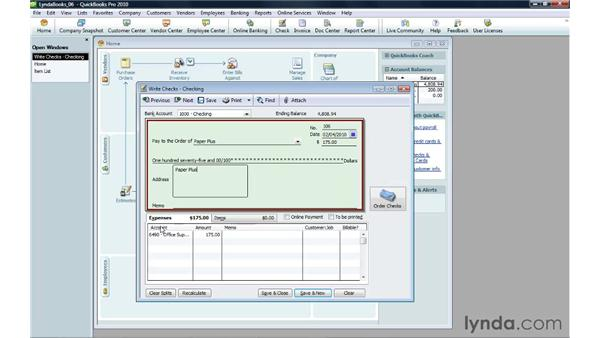 Writing a check for expenses: QuickBooks Pro 2010 Essential Training
