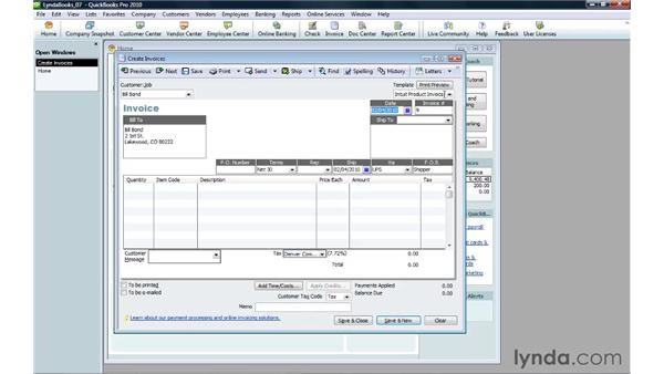 Creating an invoice and filling in header fields: QuickBooks Pro 2010 Essential Training