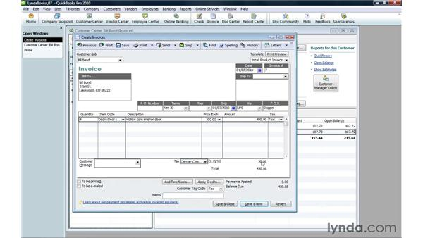 Adding items to an invoice: QuickBooks Pro 2010 Essential Training