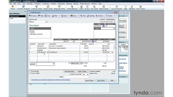 Using subtotals, discounts, and other charges: QuickBooks Pro 2010 Essential Training