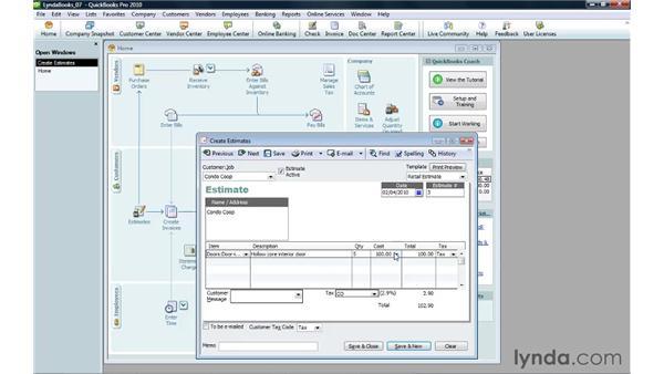 Creating an estimate: QuickBooks Pro 2010 Essential Training