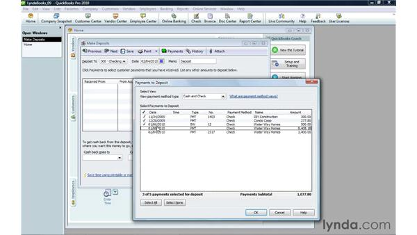 Depositing payments: QuickBooks Pro 2010 Essential Training