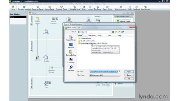 Restoring a company file: QuickBooks Pro 2010 Essential Training
