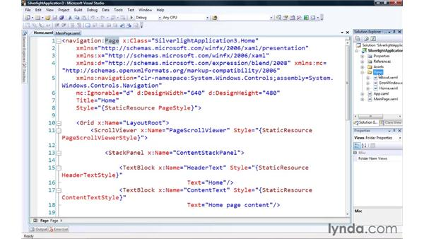 Creating a Silverlight page/UserControl: Silverlight 3 Essential Training