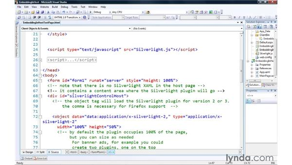 Embedding Silverlight content on web pages: Silverlight 3 Essential Training