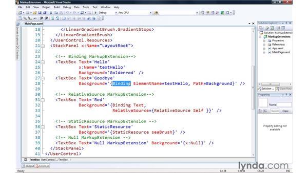 Assigning runtime data via XAML Markup Extensions: Silverlight 3 Essential Training