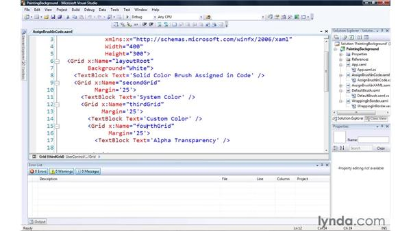 Painting background and borders: Silverlight 3 Essential Training