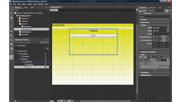 Adjusting content with alignment, margins, and sizing: Silverlight 3 Essential Training