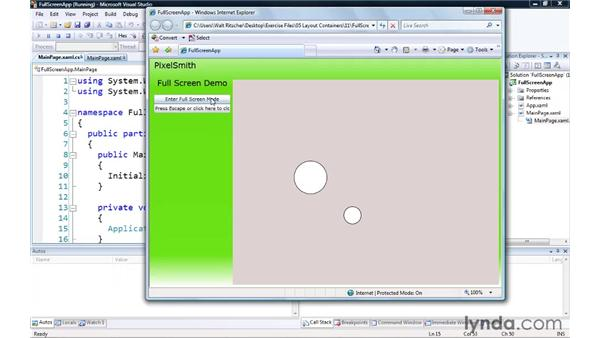 Enlarging your window with Full Screen mode: Silverlight 3 Essential Training