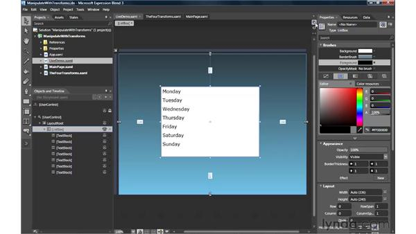 Manipulating elements with transforms: Silverlight 3 Essential Training
