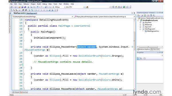 Detailing the mouse events: Silverlight 3 Essential Training
