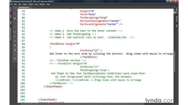 Displaying text on the screen: Silverlight 3 Essential Training