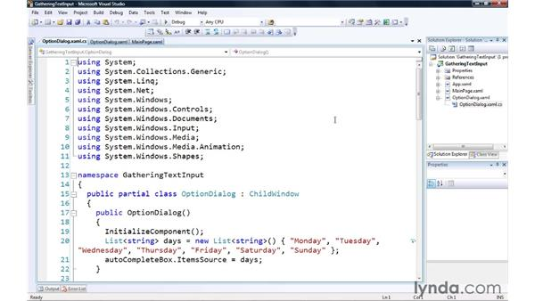 Gathering text input from the user: Silverlight 3 Essential Training