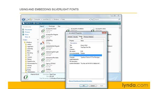 Using and embedding Silverlight fonts: Silverlight 3 Essential Training