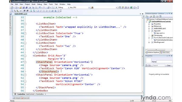 Showing list data with ItemsControls: Silverlight 3 Essential Training