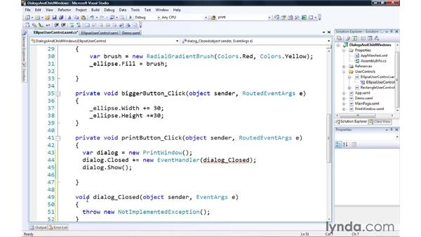 Creating dialogs and child windows: Silverlight 3 Essential Training