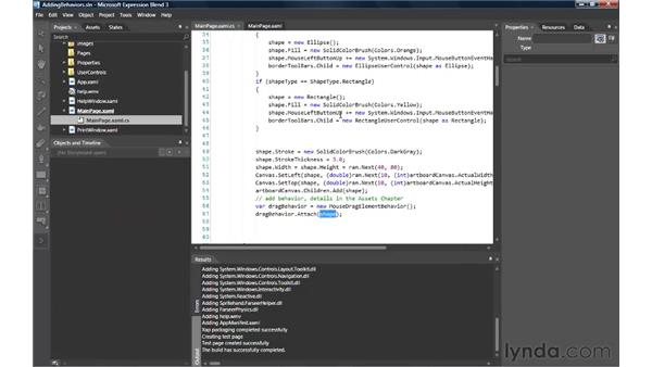 Adding behaviors to elements with Blend Behaviors: Silverlight 3 Essential Training