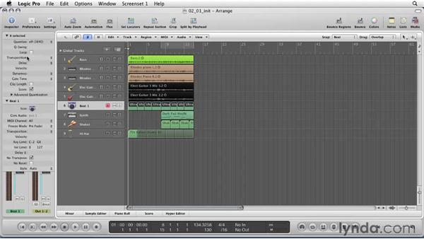 Getting to know the Arrange window: Logic Pro 9 Essential Training