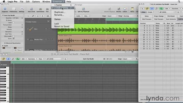 Creating your own screensets: Logic Pro 9 Essential Training