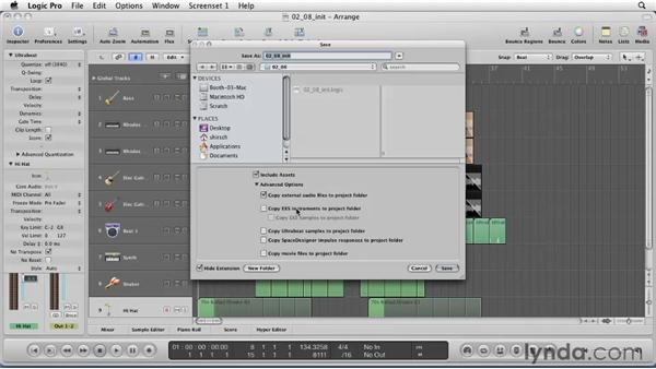 Saving and going mobile with your project: Logic Pro 9 Essential Training