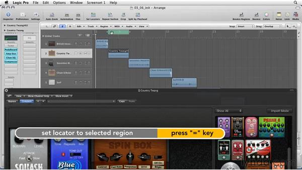 Playing with guitar madness: Pedal board: Logic Pro 9 Essential Training